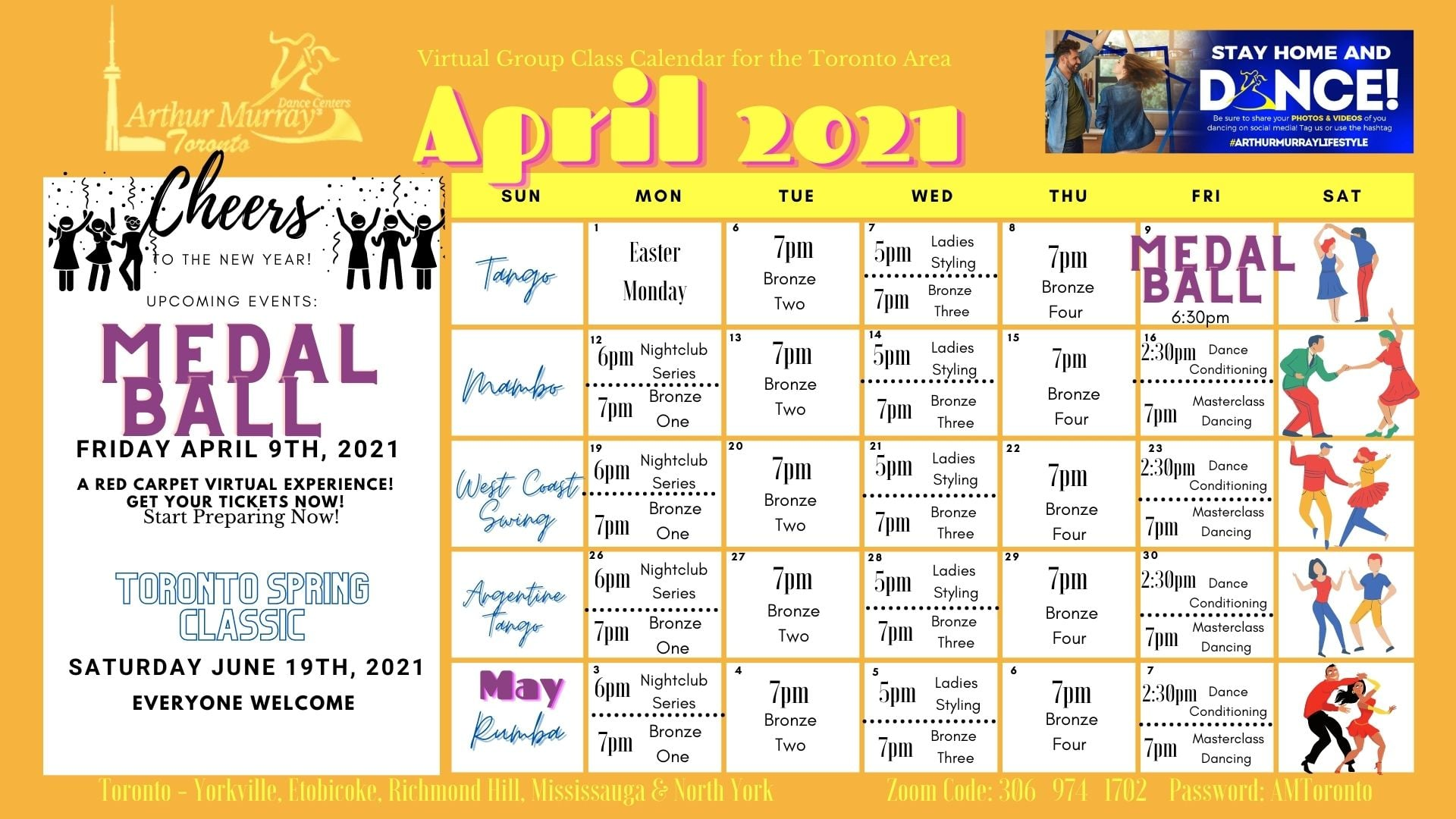Dance class calendar and schedule for the month of April 2021 at Arthur Murray Dance Studio North York