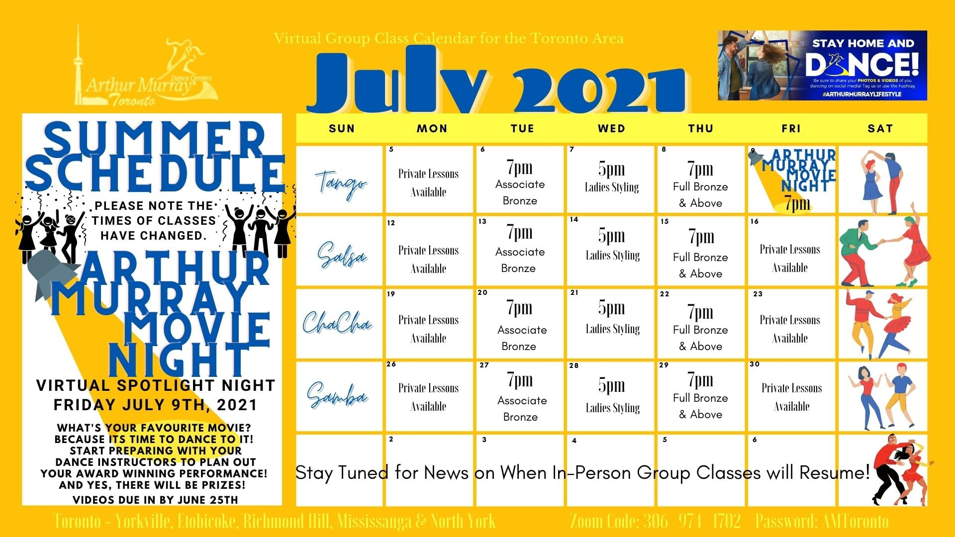 Arthur Murray Toronto - North York July 2021 Dance Class Calendar including weekly schedule including tango, samba, cha cha, salsa, private dance lessons, group dance classes, dance parties, and dance studio events in Toronto